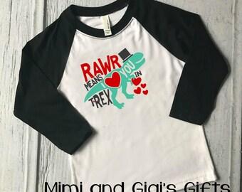 Valentine's day Boy Rawr Dinosaur Shirt
