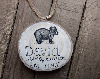 Custom Name Ring Bearer Christmas Tree Ornament / Rustic Wedding Attendant Gift Boy / Black Bear / Bride and Groom Initials Wedding date