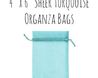 "10 or 25 Pack of 4 x 6"" Rectangle Sheer Robin's Egg Blue Aqua Drawstring Ribbon Organza Bags, Wedding Favors, Gift Bag, DIY, Wedding Supply"