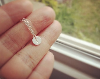 Custom Initial Necklace, Tiny 925 Sterling Silver Initial Necklace, Hand Stamped 925 Sterling Silver Tiny Initial Necklace, Everyday Wear