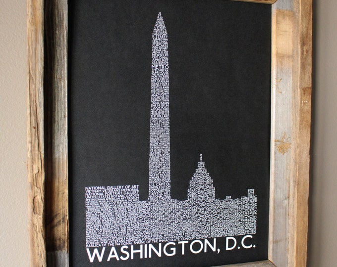 Washington DC Skyline Word Art Print (Black) - Unframed
