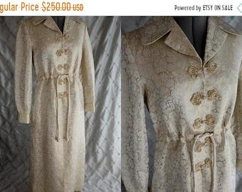 "ON SALE 50s 60s Dress //  Vintage 50s 60s Gold Ivory Heavy Satin Brocade Maxi Hostess Dress Size M L up to 32"" waist"