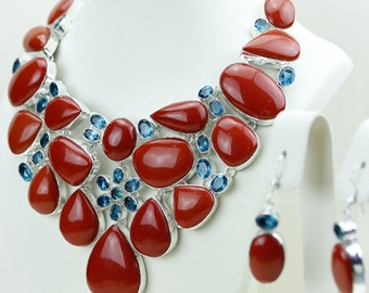 Color Contrast! Red CORAL Irradiated Blue Topaz 925 S0LID Sterling Silver Necklace n479