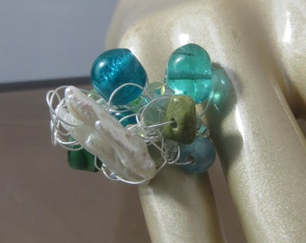Aqua Ice Sterling Silver Beaded Wire Ring Size 4
