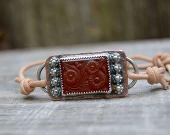 Sterling Copper Bracelet. Boho. Antique Glass . Leather . Glass . Wedding Gift .Bracelet. Boho .