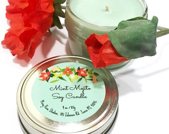 mint mojito candle, soy candles handmade, summer candle, light green candle, mint candle, home decor gifts, housewarming gift, teacher gift