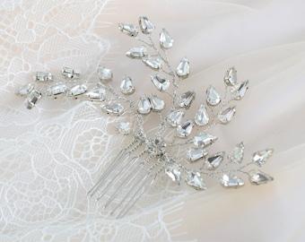 Wedding Headpiece, Bridal Hair comb, Rose Gold Hair Piece, Rhinestonel Headpiece, Gold Hair comb, Crystal hair Pin, Silver Hair Jewelry