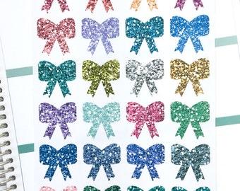 Bows Decorative Planner Stickers | Cute Little Bows Bright Glitter