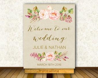 Welcome Sign Printable, Custom Wedding Sign, Wedding Welcome Sign, Floral Bridal Shower Welcome Sign, Welcome Sign Wedding, Welcome Wedding