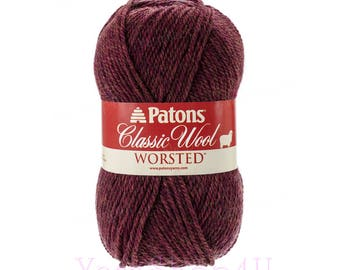 COGNAC HEATHER Patons Classic Wool Yarn. A Burgundy Heather Wool Yarn. This Pure New Wool yarn is great for felting projects. 3.5oz 100g √