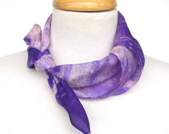 Violet Silk Neckscarf - Square Purple Bandana Scarf - Handpainted Silk Scarves