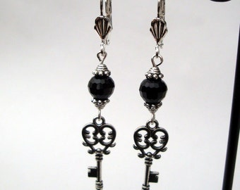 Silver key earrings - black faceted bead - steampunk style vintage inspired