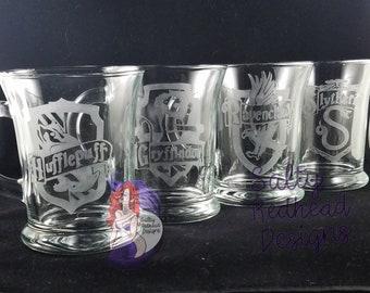 Hogwarts House Mugs 12oz Etched Glass