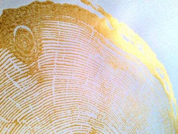 Gold Wedding Art, gold tree ring art, tree stump, tree ring print, Christmas gift, Thanksgiving art, holiday art, art gifts, Christmas art