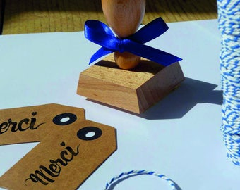 """Stamp """"thank you heart"""" with wooden handle vintage"""