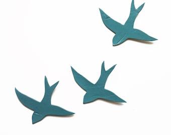 Porcelain wall art sculpture Three swallows Blue gray teal green birds Modern ceramic wall art Bathroom kitchen living room art Sea spray