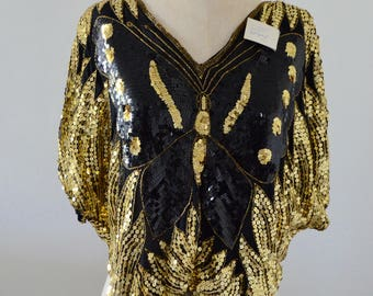 NWT Gold Silk Beaded Sequined Butterfly Top Street Style