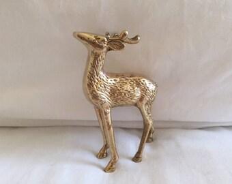 Vintage Solid Brass Deer Figurine
