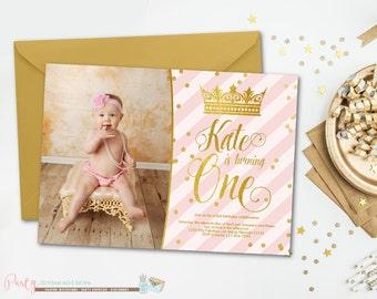 Princess Birthday Invitation, Princess Invitation, Pink Birthday Invitation, Pink and Gold Birthday Invitation, Princess Party