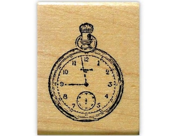 POCKET WATCH mounted rubber stamp, steampunk, grunge, clock, antique timepiece stamp, vintage Victorian style, Sweet Grass Stamps No.15