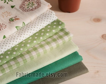 "Set of 7 Bundle / Green Bundle Fabric / Quilting Fabric Bundle/ Green Fabric - Linen Cotton Fabric Bundle each 13""X19"""