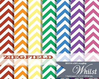 Chevron digital paper rainbow, chevron paper digital background for small commercial personal use : B0314 v301 roygbip