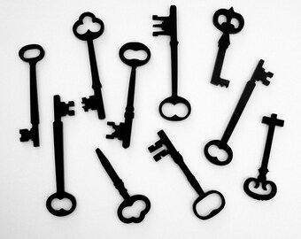Skeleton Key Silhouettes - Mixed SET OF 10 - Laser Cut Acrylic - for all your art and craft projects (You select the color)