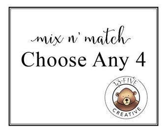 Mix and Match  Choose Any Prints Set of 4 Prints  Nursery Print Set Nursery Art Set Animal Print Set Animal Nursery Art  Nursery Wall Art