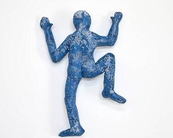 Large Abstract Metal Wall Art sculpture, big climbing man sculpture, wire mesh sculpture, 3d design