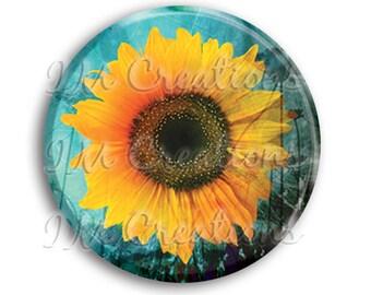 "LIQUIDATION SALE! Sunflower Pocket Mirror, Magnet, or Pin - 2.25"""