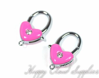 Big Bright Pink and Silver Heart Lobster Claw Rhinestone... 2pcs