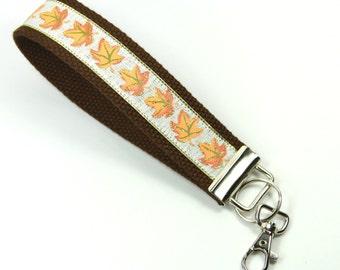 AUTUMN Fabric Key Fob, Wristlet Key fob, Autumn Key chain, Brown Orange keychain