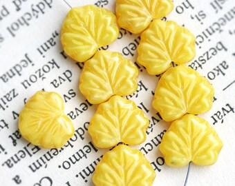 Yellow leaf beads Maple leaves Czech glass pressed beads - 11x13mm - 0591