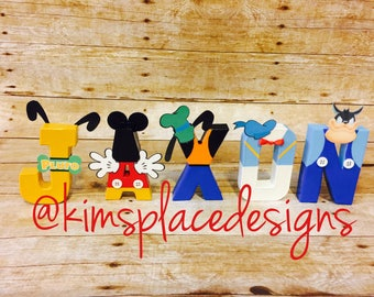 Mickey Mouse Clubhouse  Letters, Paper Mache Letters, Mickey Mouse Party, Minnie Mouse, Donald Duck, Personalized Name Letter Set.