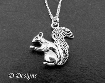 Squirrel Necklace, Silver Squirrel Pendant, Squirrel Charm Necklace, Squirrel jewellery, Squirrel Gifts, Trendy Necklace