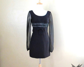 Vintage 1960's Black Sheer Long Sleeve Lace Empire Waist Mini Dress Size Small