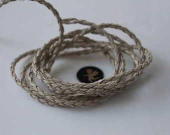 3.04 meters faux white braided leather cord - jewellery