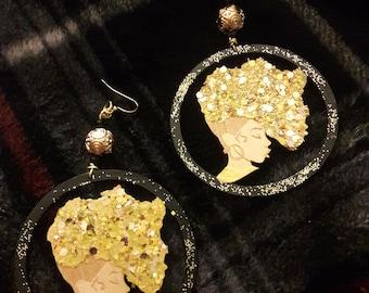 Afro Golden Queen Earrings
