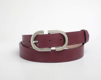 Leather Belt, Burgundy Leather Belt, Burgundy Womens Belt, Womens Belt