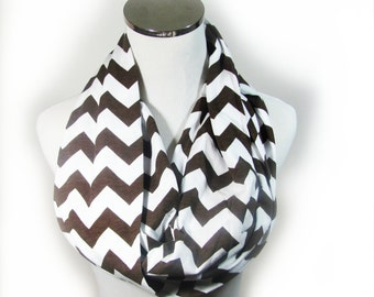 Brown Scarf, Brown Infinity Scarf. Brown Chevron Scarf.Brown Zigzag  Scarf. Scarf.loop Scarf.Circle Scarf. Infinity Scarf.