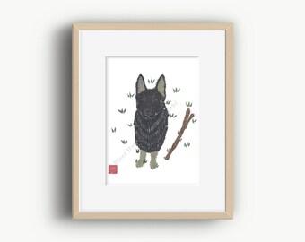German Shepherd Art, Black Shepherd, Working Dog, German Shepherd Gift, Ready to Frame