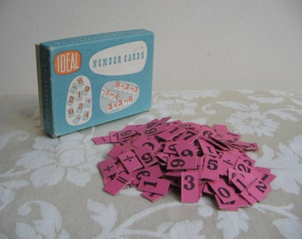 Vintage Cardboard Number Tiles By Ideal 267 Pink Anagrams Cards in Original Box, Ideal School Supply Co., Art Supplies