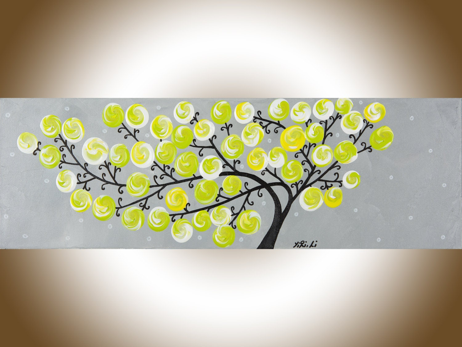 Yellow grey painting original art whimsical painting wall art
