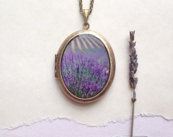 Lavender Fields Locket - Secret Garden Collection - French Floral Photo Necklace - Purple Flora