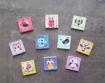 20 buttons wood bird Owl 2cm square
