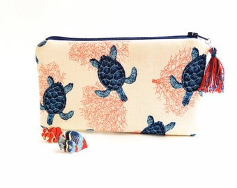Fabric pouch, ESCALE 8, cosmetic case, make-up case, purse, spectacle case, bag organiser, quilted pouch, tortle, coral, blue
