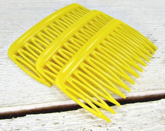 Vintage Yellow Hair Comb Set, Small Side Hair Combs, GOODY Plastic Hair Combs, Decorative Combs, 1970s Hair Accessories for Women Girls