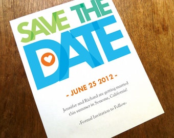 Printable Save the Date Card - Save the Date Template - Instant Download - Save the Date PDF - Big Colorful Type Save the Date - Typography