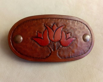 Handmade Leather French Barrette, Leather Hair Clip for Women and Girls, Hair Accessories