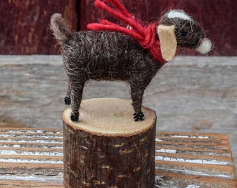 Goat in Brown - Needle Felted Christmas Ornament